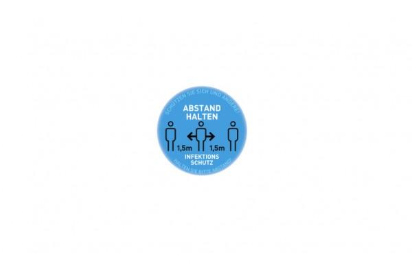 Aufkleber Abstand   Standard blau   rund 29 cm
